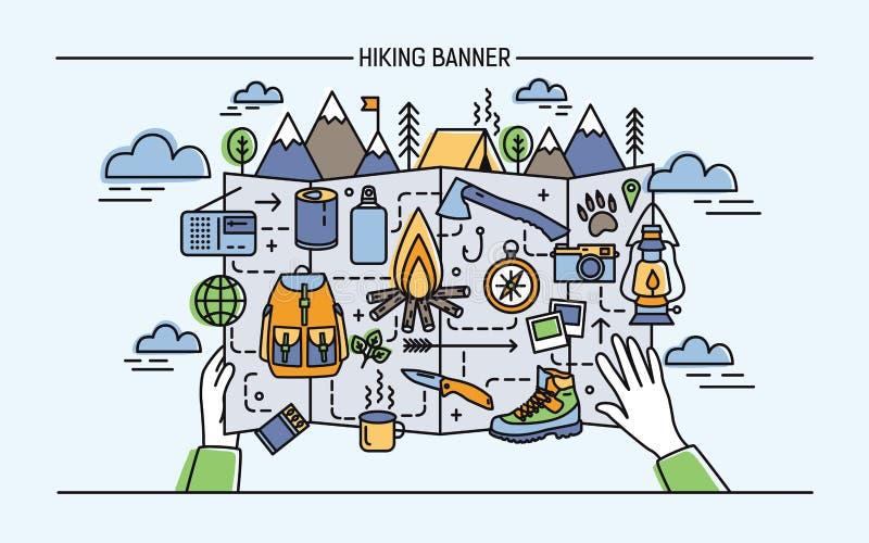远足的概念,挑运,活跃假期,旅行 与旅游辅助部件和篝火,帐篷的水平的横幅 向量例证