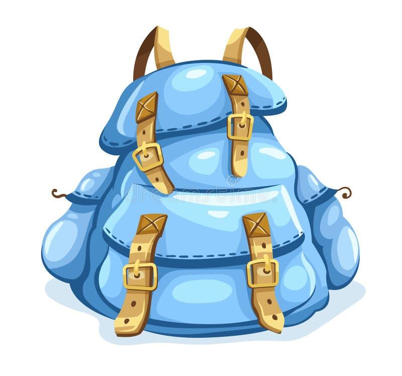 远足的老背包 旅途的旅行背包 向量 例证 向量例证