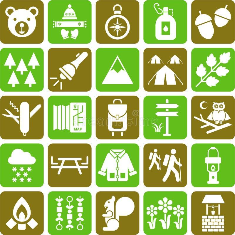 远足者和山图标 库存例证