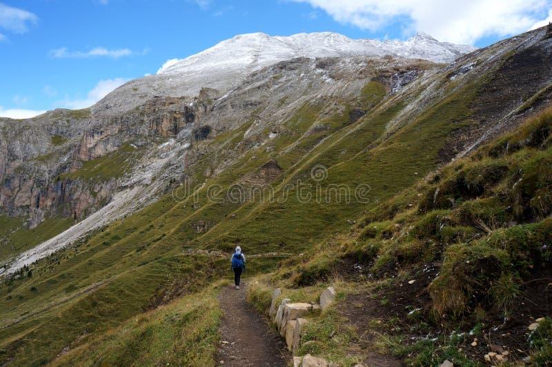 远足者喜欢走在高多雪的山峰前面的美妙的阿尔卑斯风景 库存图片