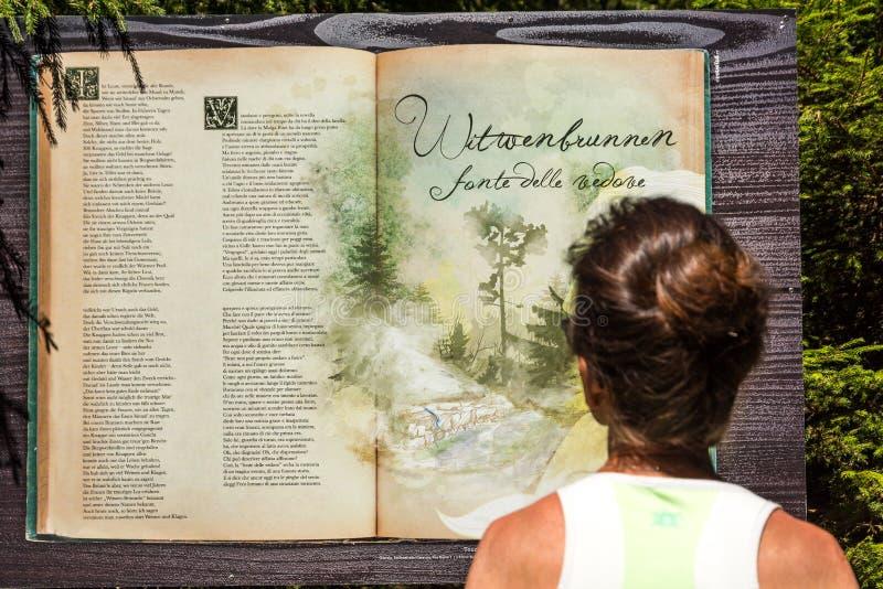 远足者在沿山行迹的Val Ridanna读了与童话的标志 Val Ridanna,特伦托自治省女低音阿迪杰,意大利 免版税图库摄影