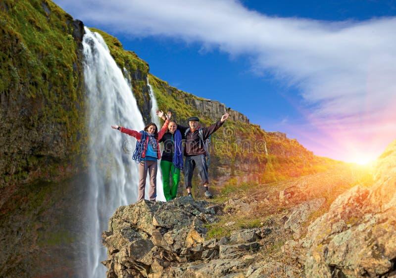远足者多代的家庭  免版税库存图片
