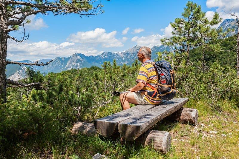远足者大约观看高山全景的60岁 图库摄影