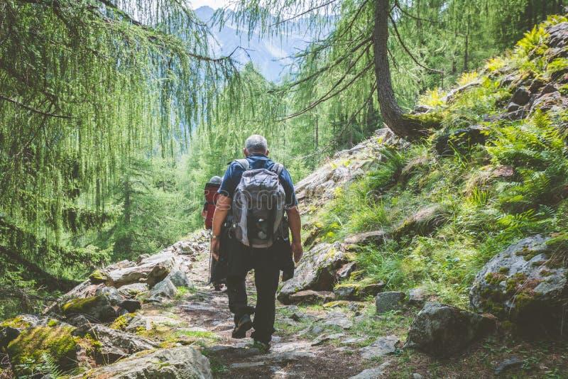 远足者沿道路走山行迹 免版税库存图片