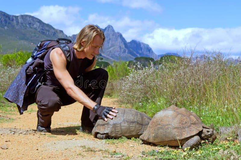 远足者肌肉接触乌龟 免版税库存照片