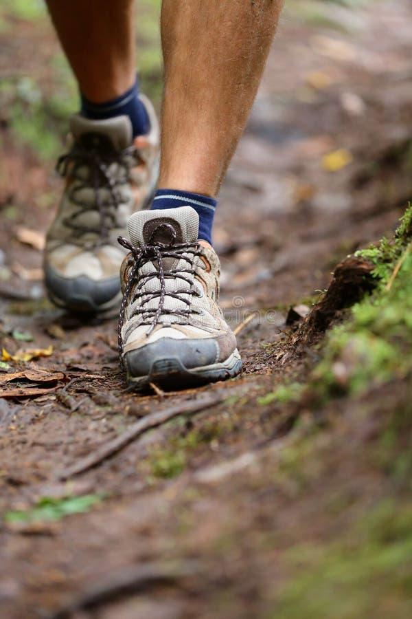 远足者-远足从远足步行的鞋子特写镜头 免版税库存图片