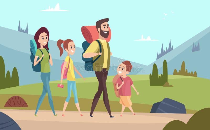 远足背景的家庭 在山孩子的走的夫妇与父母游人旅行家室外冒险传染媒介 皇族释放例证
