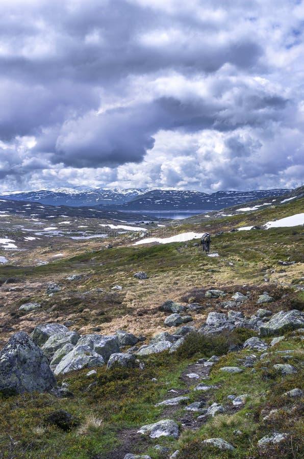 远足背景 有背包的游人在挪威山 免版税库存照片