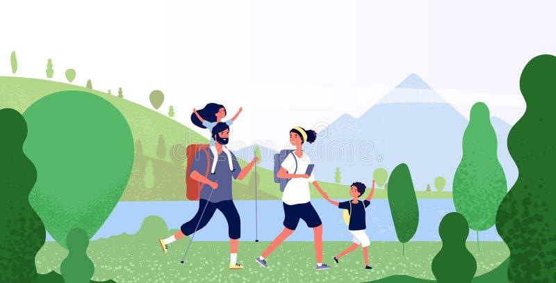远足自然的家庭 男人、妇女和孩子在室外山风景 假日在野营的传染媒介的夏天冒险 向量例证