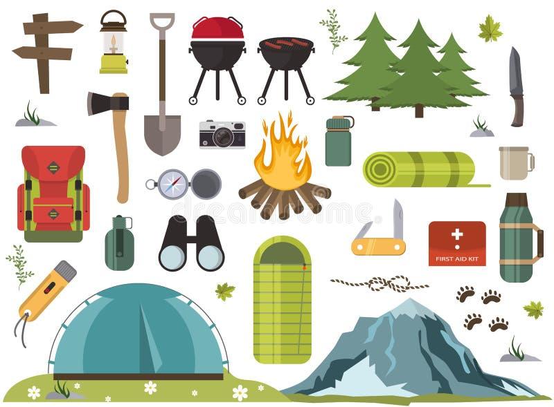 远足野营的设备营火营地适应和辅助部件例证 皇族释放例证