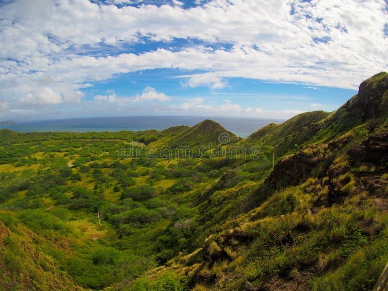 从远足金刚石头火山口威基基奥阿胡岛夏威夷的看法 库存图片