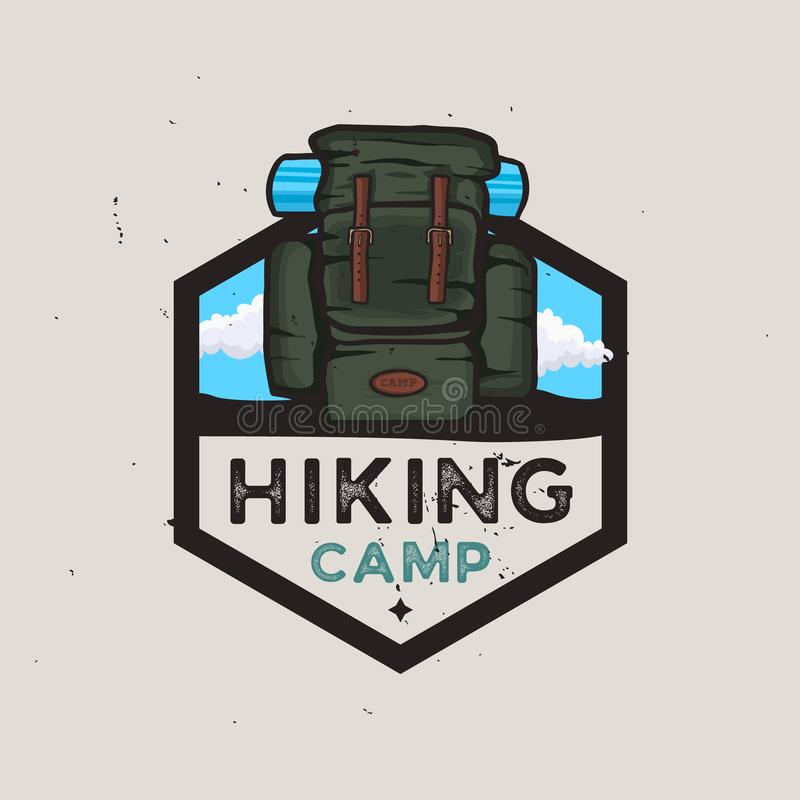 远足阵营与旅行背包的略写法概念,室外冒险 向量例证