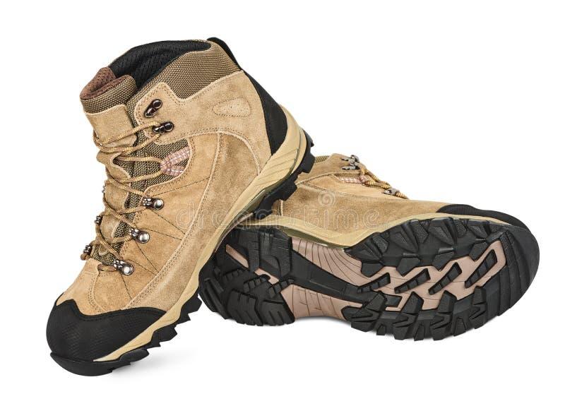 远足鞋子的绒面革 免版税库存照片