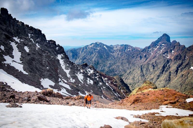 远足Monte Cinto,可西嘉岛 免版税库存照片