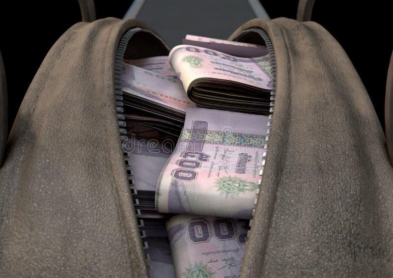 违法获利布朗行李袋 免版税库存图片