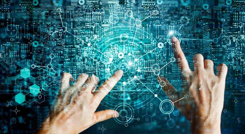 连接人和智力设备的创新系统 库存照片