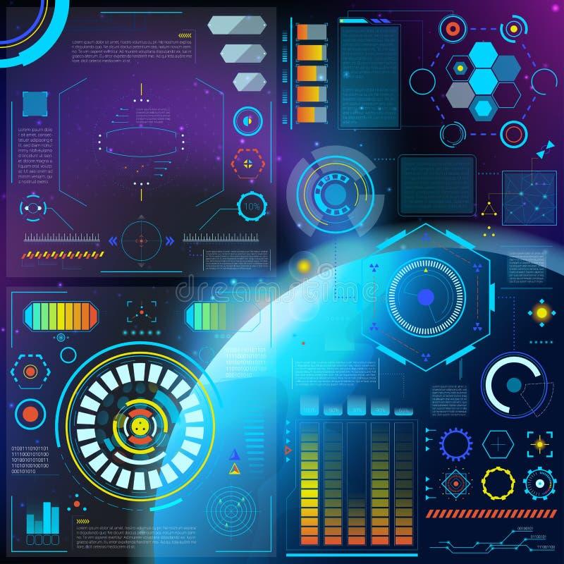 连接传染媒介hud仪表板未来派被连接的spacepanel与在数字式酒吧的连接的全息图技术 皇族释放例证