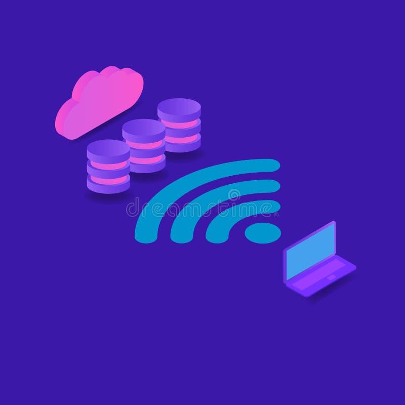 连接使用互联网的一台计算机到信息数据库  向量例证