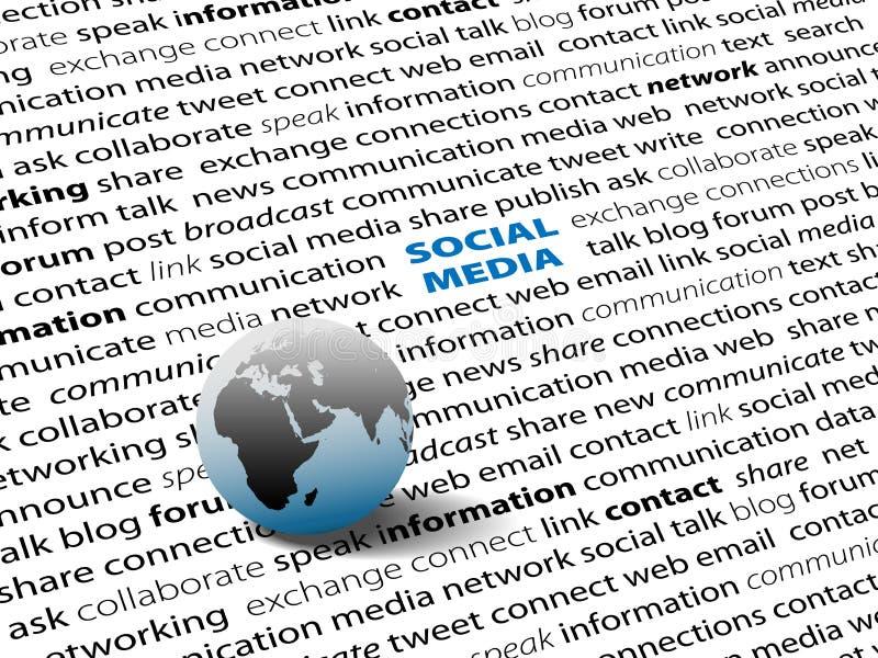 连接全球媒体网络页社交字 库存例证