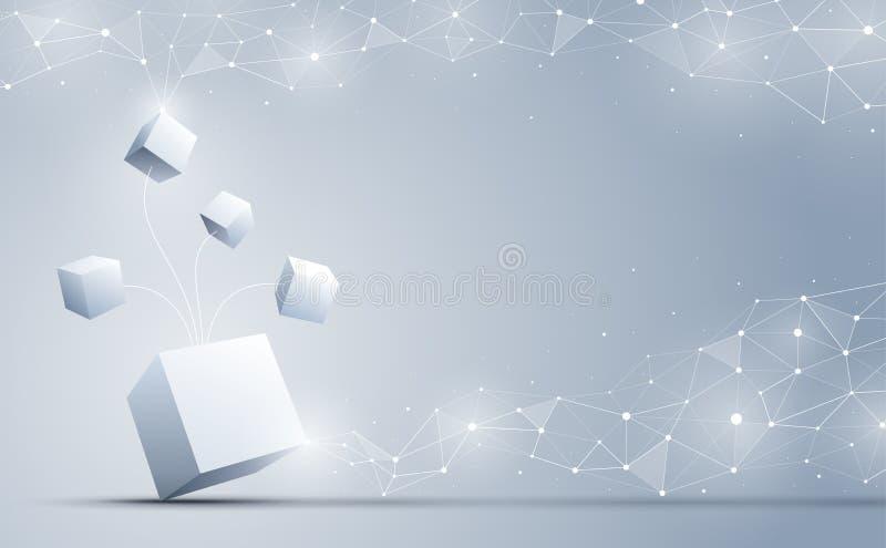 连接到数据来源的立方体 抽象科学和企业技术背景 也corel凹道例证向量 皇族释放例证