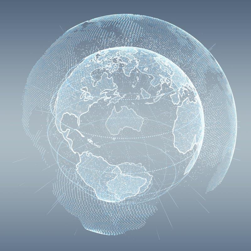 连接和数据交换在行星接地3D renderi 皇族释放例证