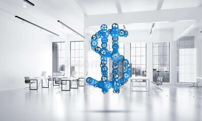 连接和网络概念作为金钱收入手段在白色办公室背景 皇族释放例证