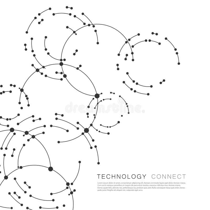 连接圈子背景的传染媒介点 与线和点的几何抽象设计 库存例证