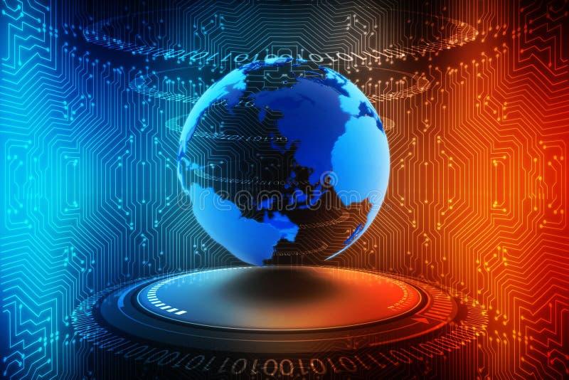 连接地球的互联网,数字式抽象技术背景,电路板背景 库存例证