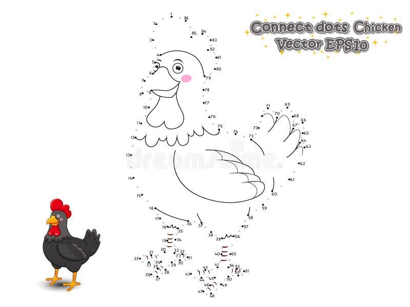 连接小点并且画逗人喜爱的动画片鸡 培训比赛 向量例证