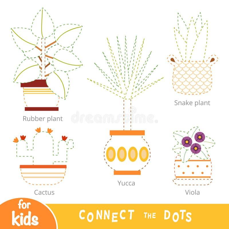 连接小点,孩子的教育比赛 设置室内植物 向量例证