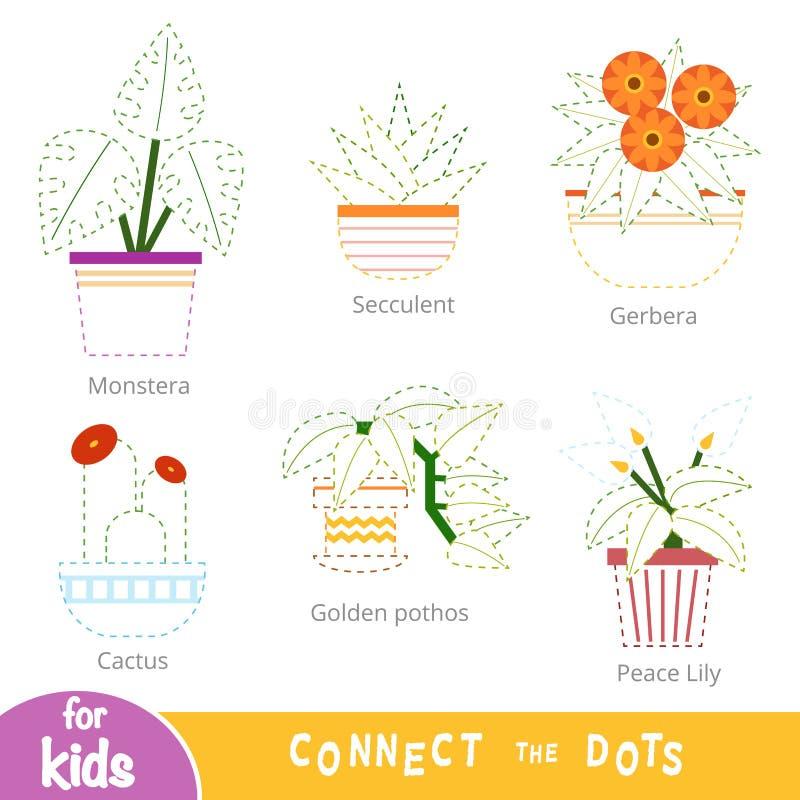 连接小点,孩子的教育比赛 设置室内植物 皇族释放例证