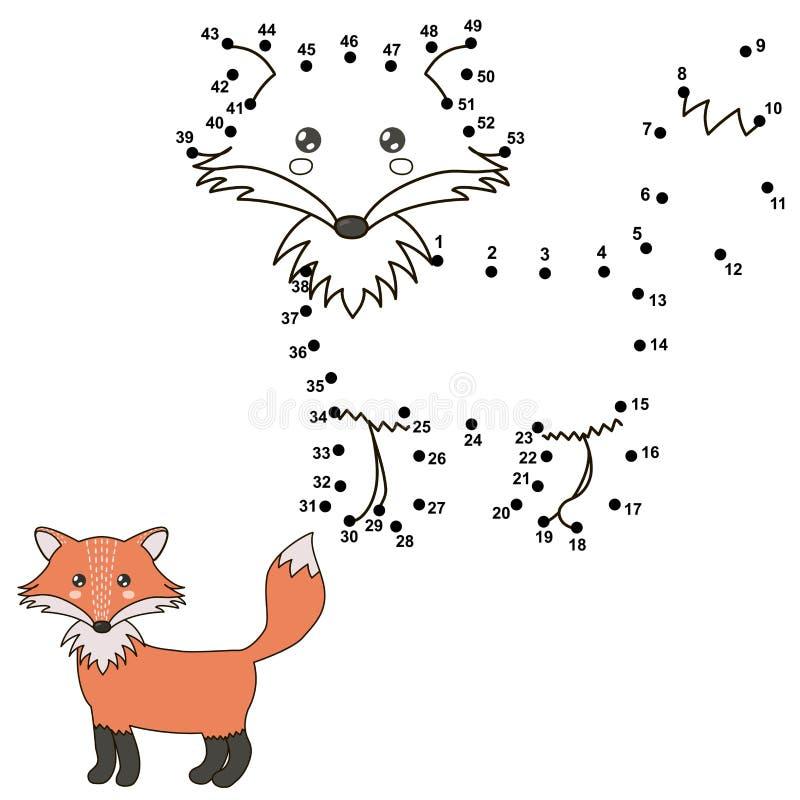 连接小点画一只逗人喜爱的狐狸和上色它 向量例证