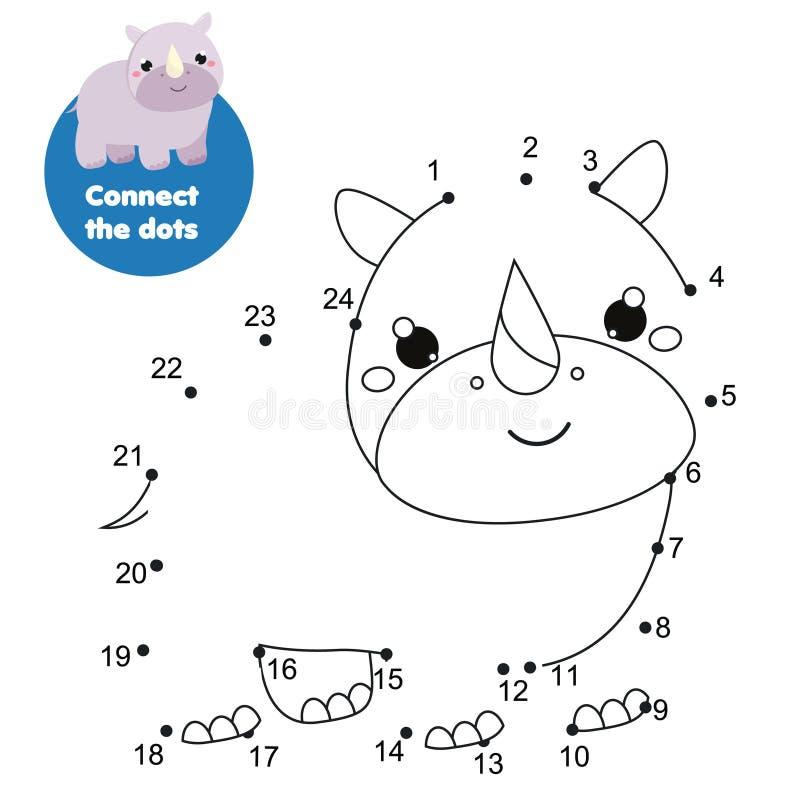 连接小点 加点的小点由孩子和小孩的数字活动 儿童教育比赛 动画片犀牛 库存例证