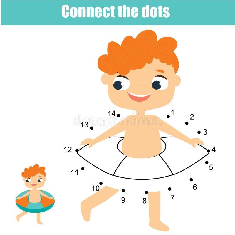 连接小点 加点的小点由孩子和小孩的数字活动 儿童教育比赛 夏天休假题材 向量例证