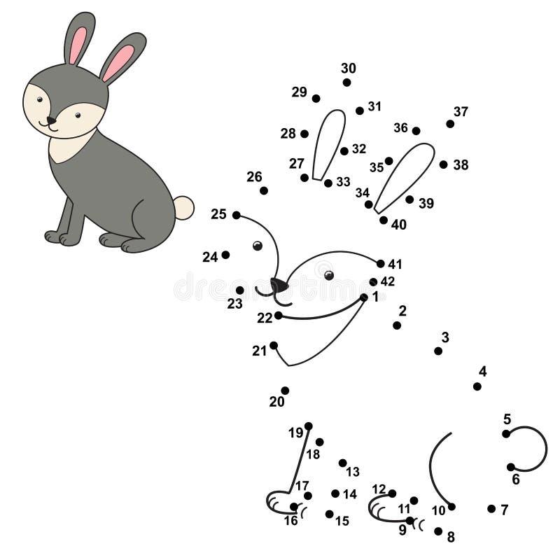 连接小点画逗人喜爱的兔子和上色它 向量例证