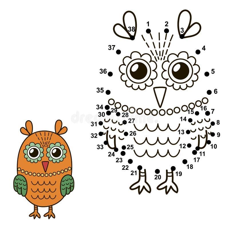 连接小点画逗人喜爱的猫头鹰和上色它 库存例证