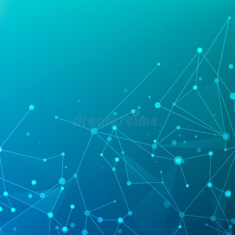 连接微粒结构 与连接的小点和线的抽象多角形低空间多深蓝和紫色背景 库存例证