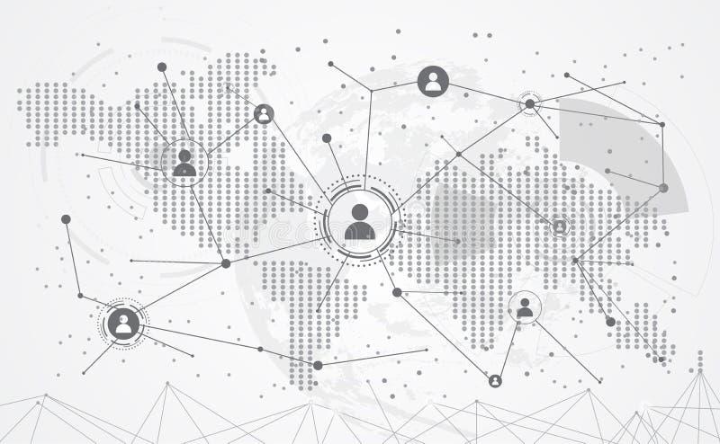 连接抽象全球性世界地图小点线三角和点 库存例证