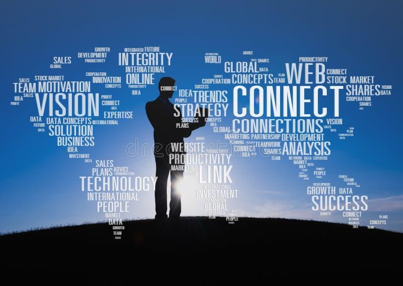 连接数据发展成长战略队概念 免版税库存照片