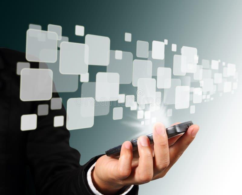 连接数移动电话屏幕接触 库存照片