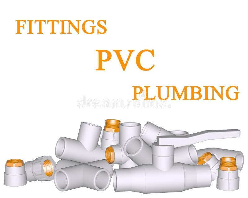 连接数贴合管道pvc 向量例证