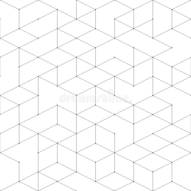 连接无缝的结构 现代与连接线的线艺术样式在白色背景 抽象几何 皇族释放例证