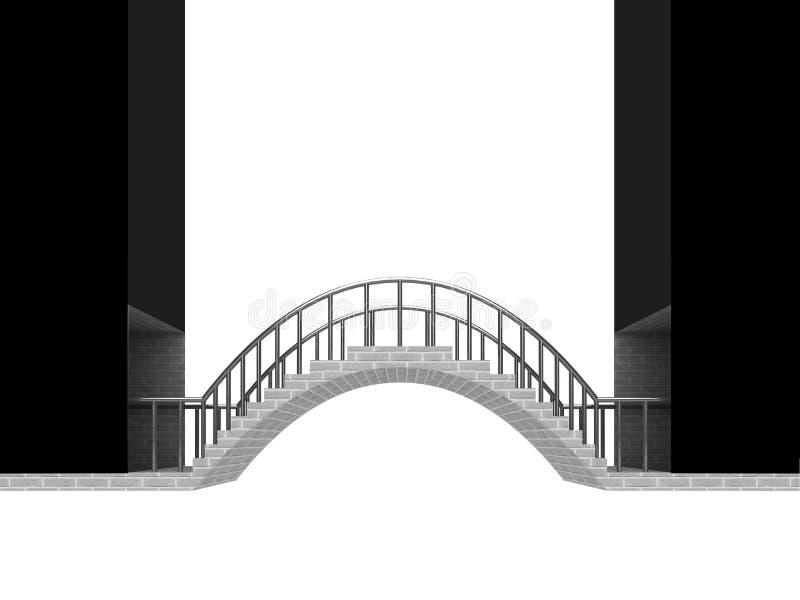连接桥梁在白色隔绝的曲拱场面 皇族释放例证