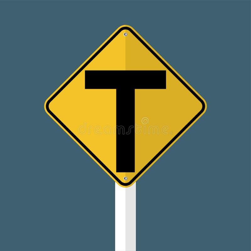 连接点前面,主要交叉点是T形的 在灰色天空背景隔绝的标志 也corel凹道例证向量 库存例证