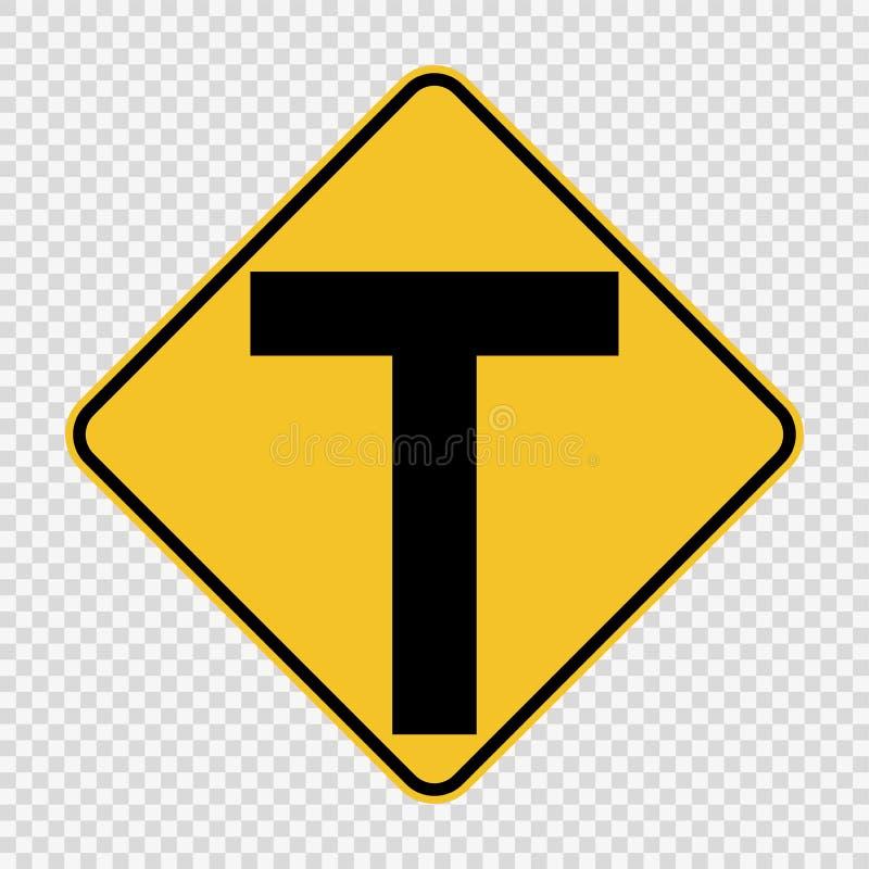 连接点前面,主要交叉点是T形的 在透明背景的标志 库存例证