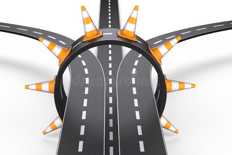 连接点环形路的交叉点和交通锥体 库存例证