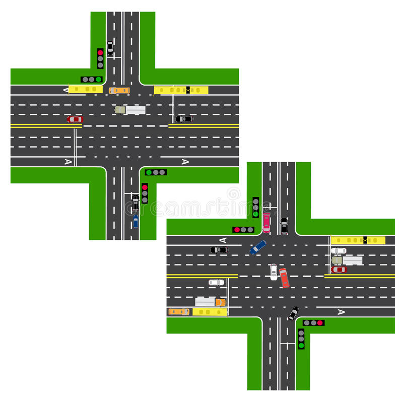 连接点高速公路 路,街道 运动是由红绿灯调控的 各种各样的汽车,公众的车道的图象 向量例证