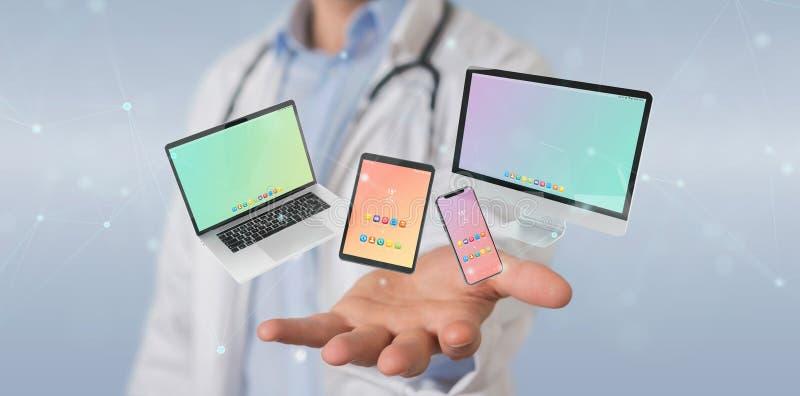 连接现代智能手机片剂膝上型计算机和计算机3D翻译的科学家 皇族释放例证
