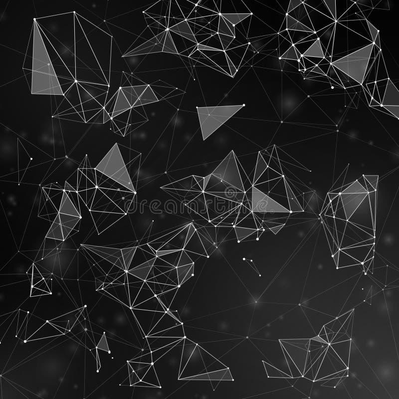 连接由线的分数维多角形形状用小点导航背景 皇族释放例证