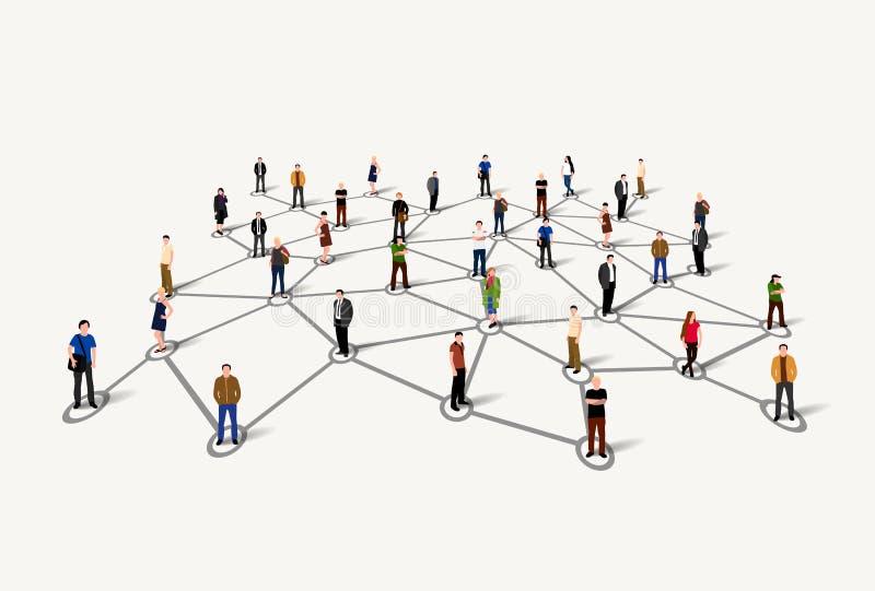 连接的人民 概念数位生成了喂图象网络res社交 库存例证